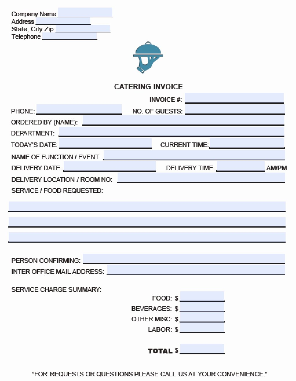 Catering Invoice Template Pdf Unique Free Catering Service Invoice Template Excel