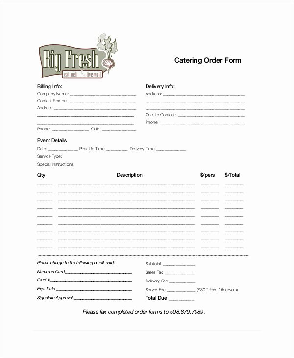 Catering order form Template Beautiful 11 Sample Catering order forms