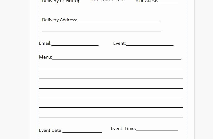 Catering order form Template Beautiful Free Catering order form Template Independent Restaurant