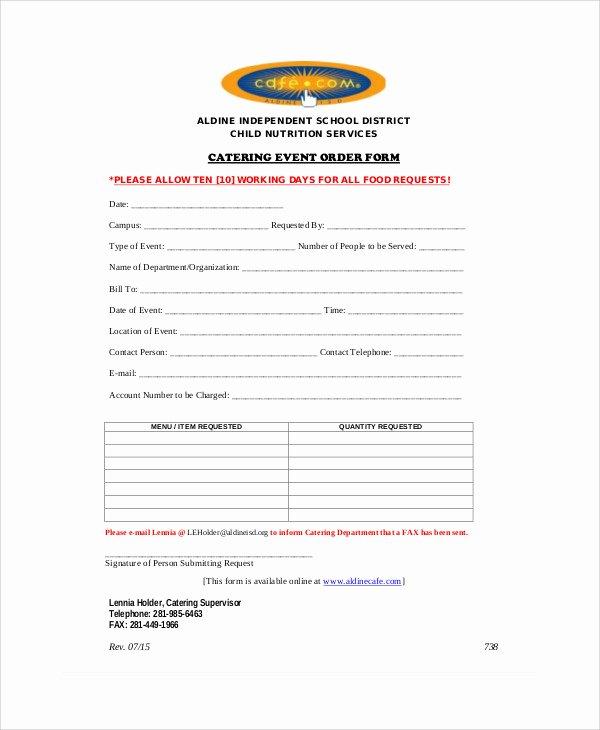 Catering order form Template Elegant 8 Sample event order forms