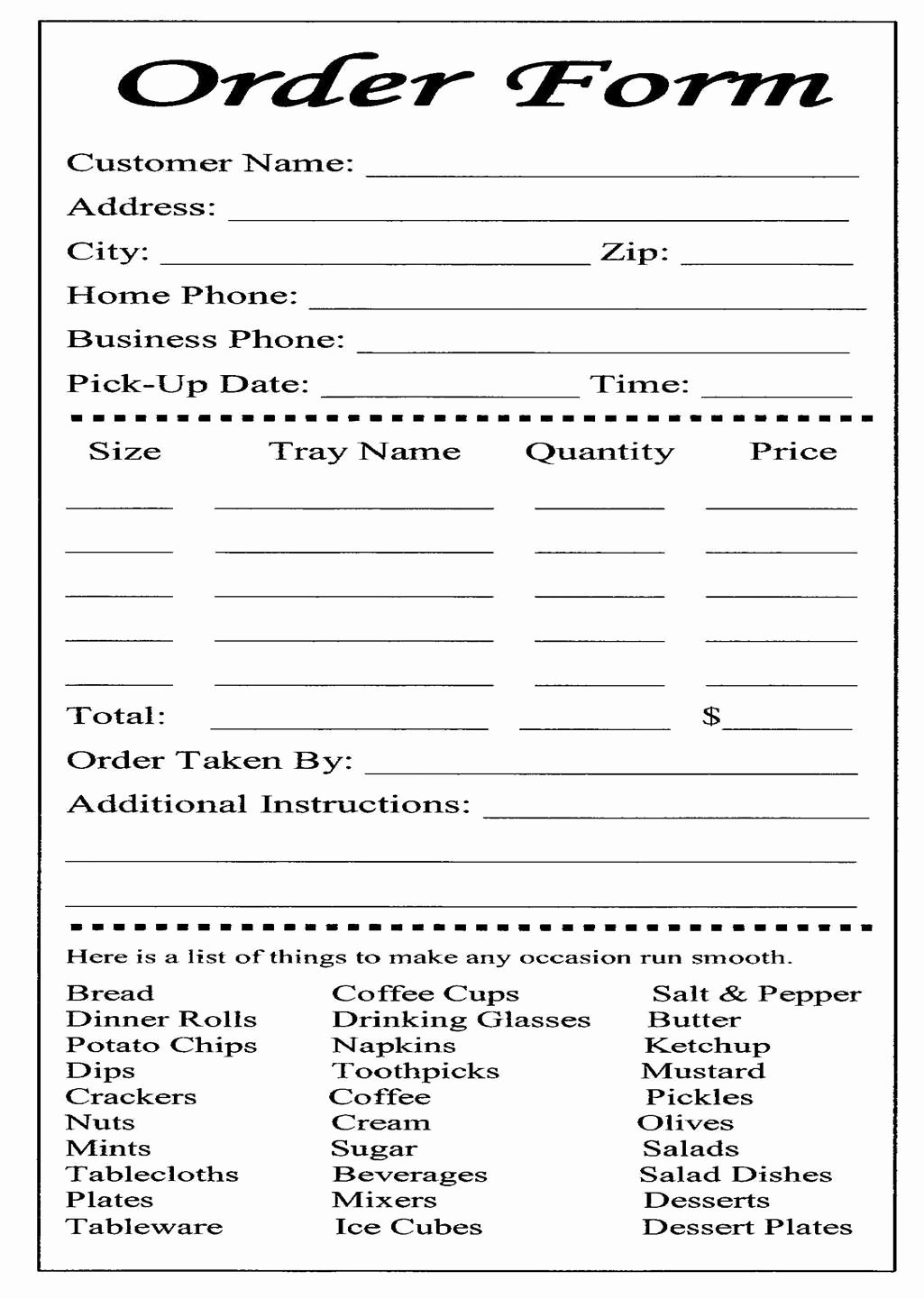 Catering order form Template Elegant Services Provided