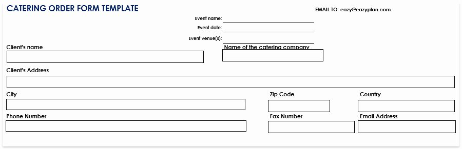 Catering order form Template Free Awesome Catering order form Template Free Word Pdf