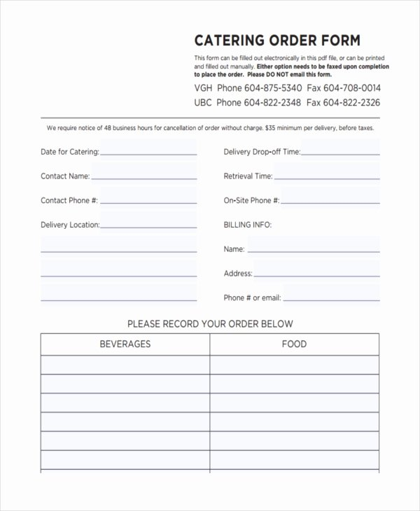 Catering order form Template Free Elegant 36 Free order forms