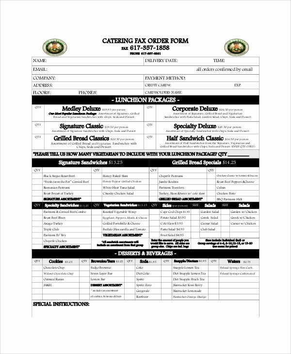 Catering order form Template Free Inspirational 11 Sample Catering order forms