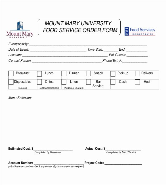 Catering order form Template Free Inspirational 18 Service order Templates – Free Sample Example format