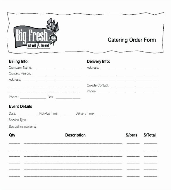 Catering order form Template Free Inspirational Catering order form Template Word Catering Template Free