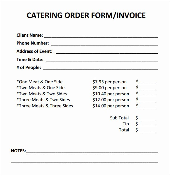 Catering order form Template Free Lovely 7 Best Of Sample Catering Invoice Template Sample
