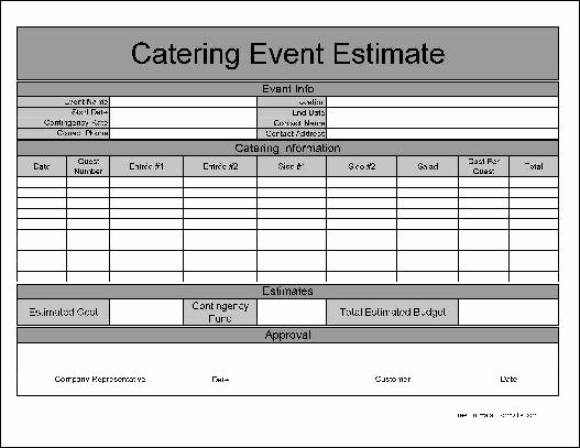 Catering order form Template Free Lovely Catering form Template Free Basic Catering event Estimate
