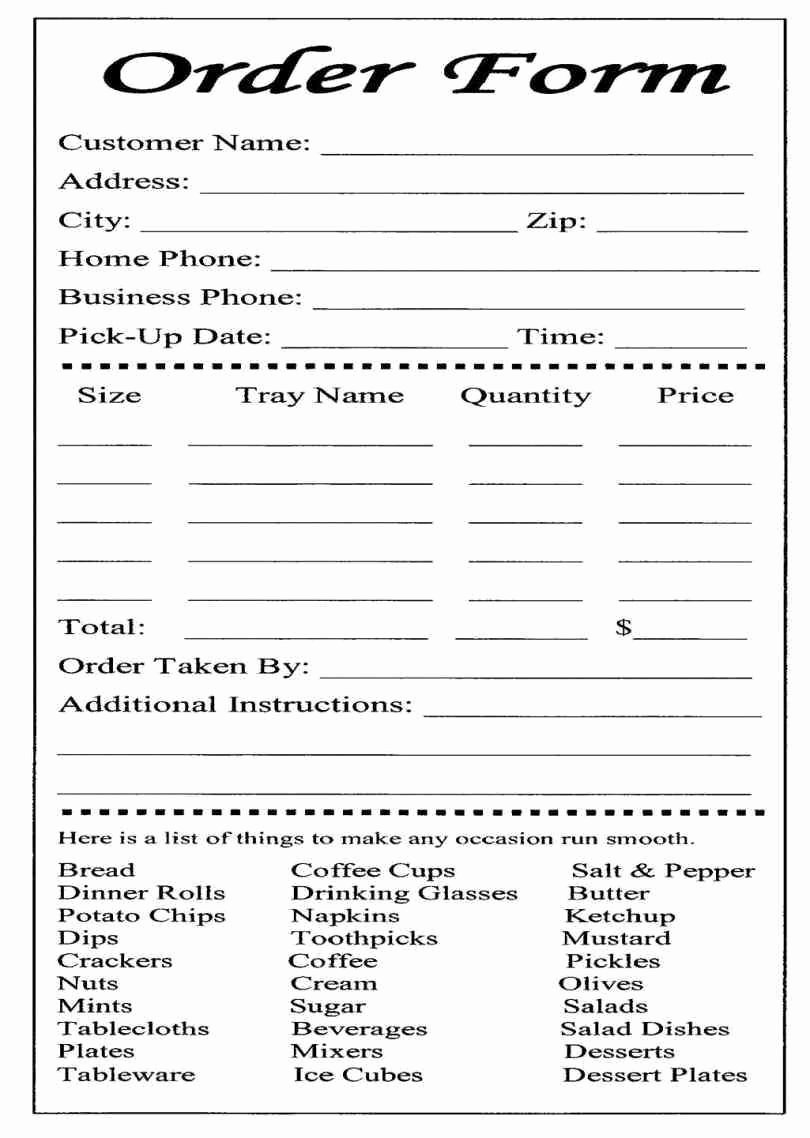 Catering order form Template Free Lovely Catering or Carryout form Used for Online ordering and