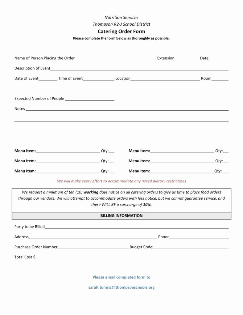 Catering order form Template Free Luxury 8 Catering order form Free Samples Examples Download