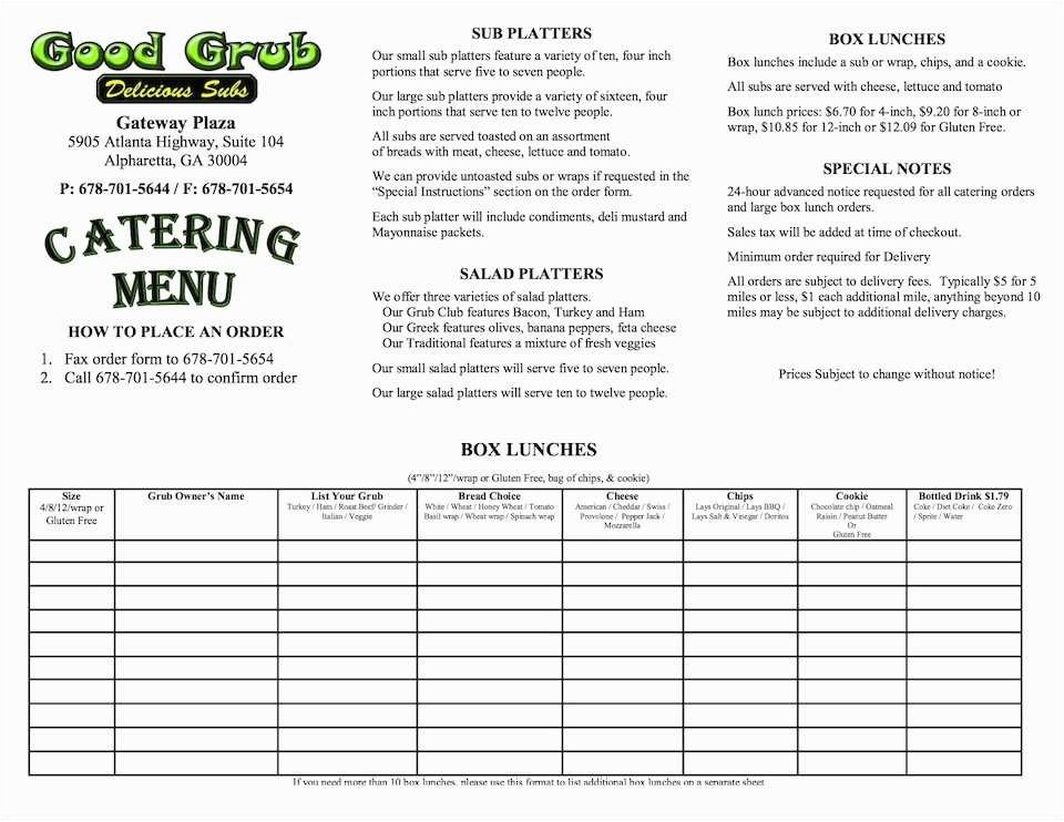 Catering order form Template Free Luxury Catering Menu Template Model 40 Best Free Menu Template
