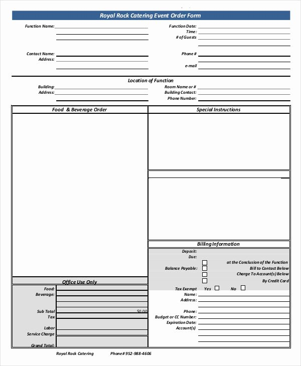Catering order form Template Free Unique 16 Catering order forms Ms Word Numbers Pages