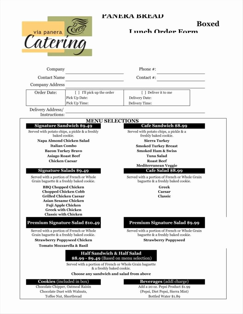 Catering order form Template Free Unique 8 Catering order form Free Samples Examples Download