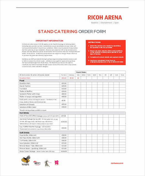 Catering order form Template Fresh 11 Sample Catering order forms