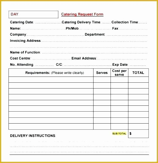 Catering order form Template Inspirational Catering order form Template Word Beautiful Customer