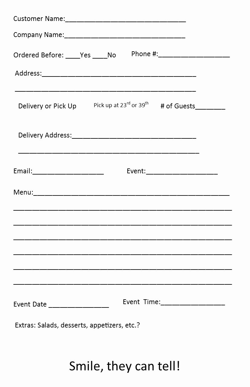Catering order form Template Luxury Free Catering order form Template – Independent Restaurant