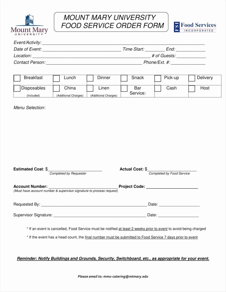 Catering order form Template New 8 Catering order form Free Samples Examples Download