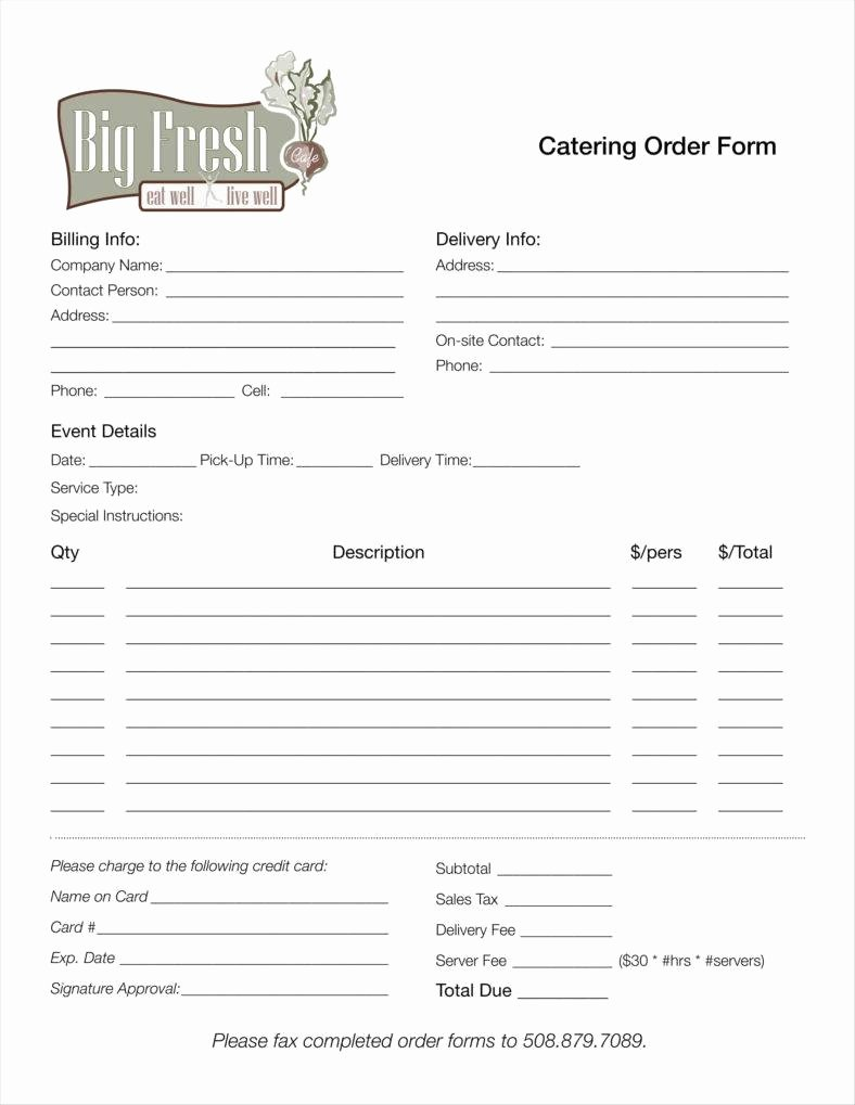 Catering order form Template Word Awesome Catering order forms Template 11 Catering Invoice
