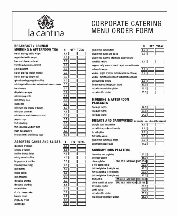 Catering order form Template Word Inspirational 16 Catering order forms Ms Word Numbers Pages