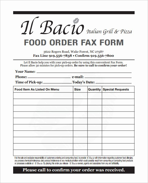Catering order form Template Word Luxury Catering order form Template Wevo