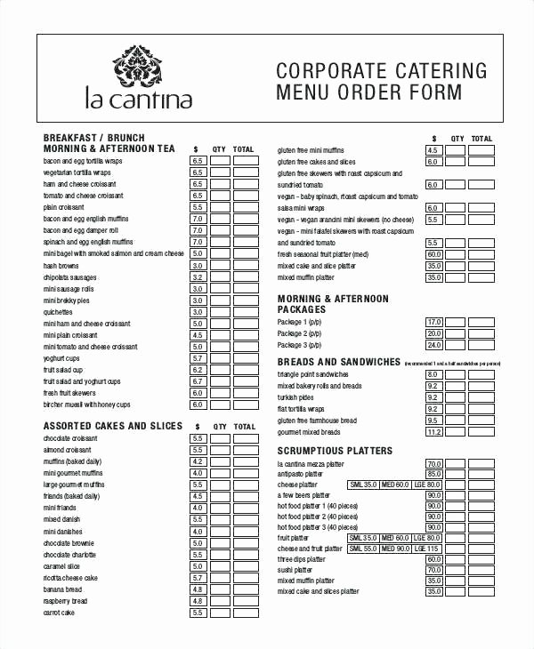 Catering order form Template Word New Dinner order form Template Food Templates Free Sample