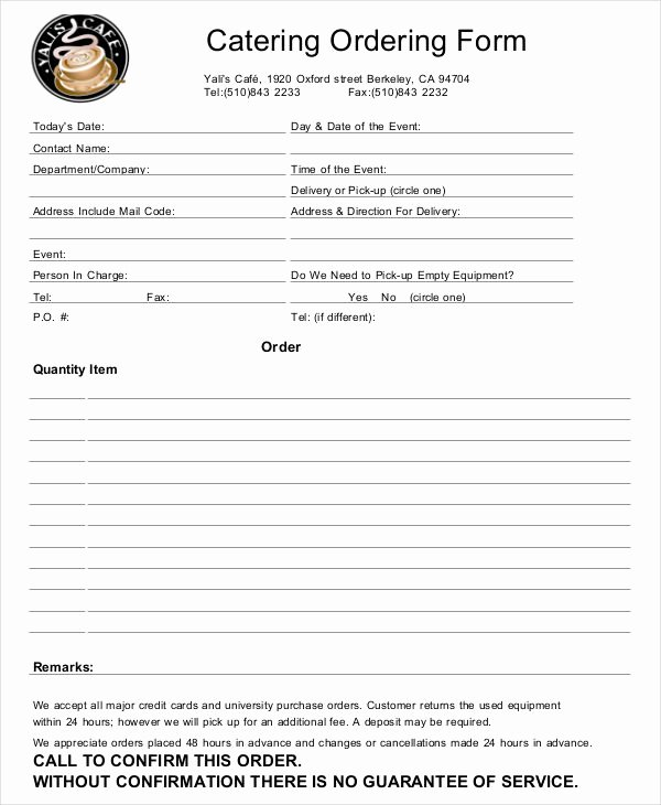 Catering order form Template Word Unique 16 Catering order forms Ms Word Numbers Pages