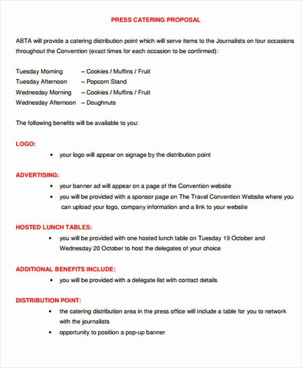 Catering Proposal Template Pdf Awesome 6 Catering Proposal Templates – Free Samples Examples