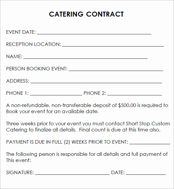 Catering Proposal Template Pdf Beautiful Catering Contract 7 Free Pdf Download