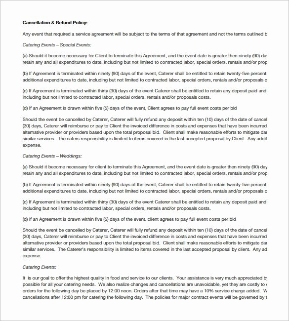 Catering Proposal Template Pdf Best Of Catering Contract Templates Word Excel Samples