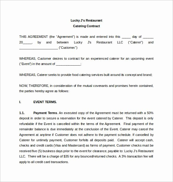 Catering Proposal Template Pdf Best Of Restaurant Catering Contract Word Template Free Download