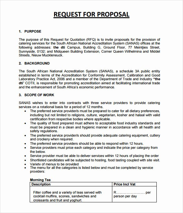 Catering Proposal Template Pdf Elegant 7 Catering Proposal Samples
