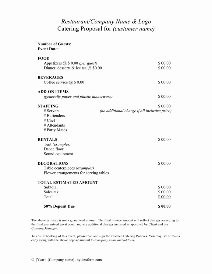 Catering Proposal Template Word Inspirational Catering Proposal Template In Word and Pdf formats Page