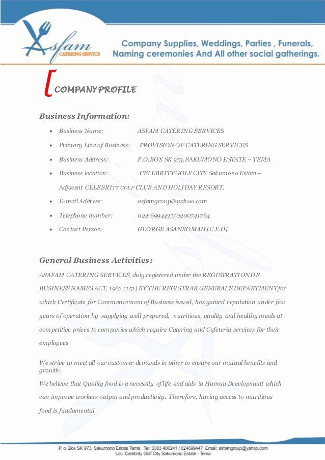 Catering Proposal Template Word Lovely asfam Catering Services Business Proposal
