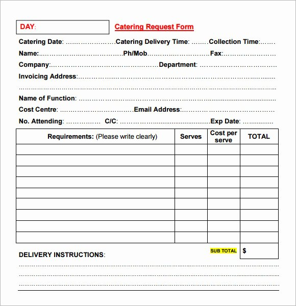 Catering Proposal Template Word Lovely Catering Invoice Sample 17 Documents In Pdf Word