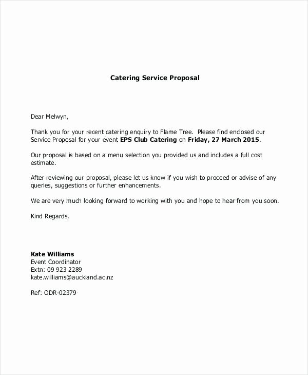 Catering Proposal Template Word Lovely Ideas Quotation Letter format for Business Lovely Free