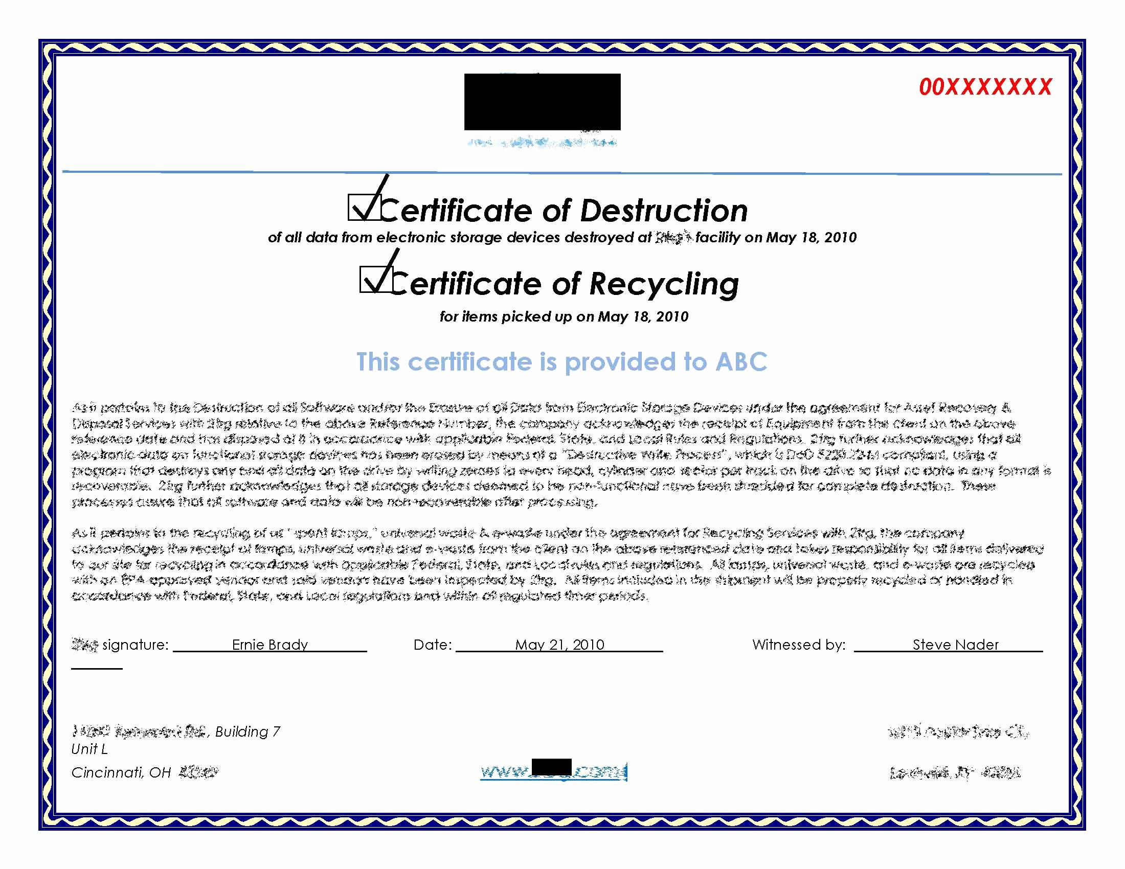 Certificate Of Data Destruction Template Awesome Hard Drive Destruction for Copier Mfp Printers