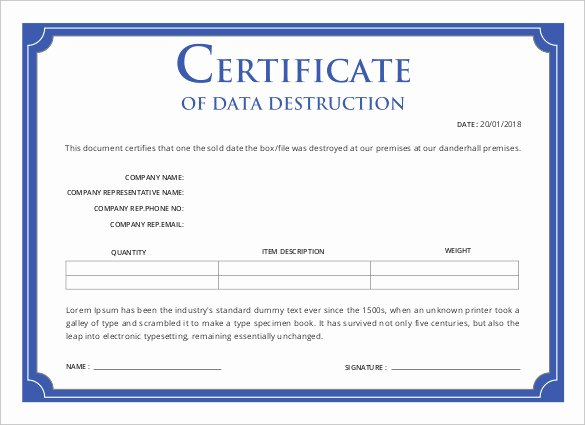 Certificate Of Data Destruction Template Awesome Printable Certificate Template 46 Adobe Illustrator