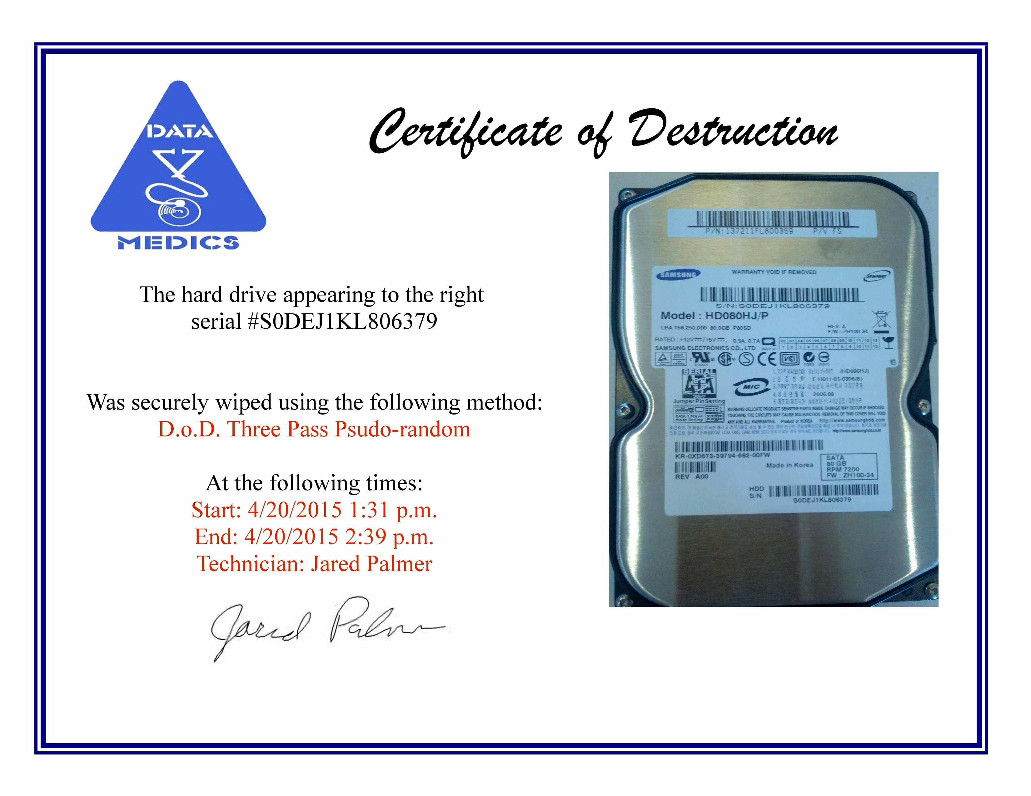 Certificate Of Data Destruction Template Beautiful Free Hard Drive Wiping Services Hdd Destruction