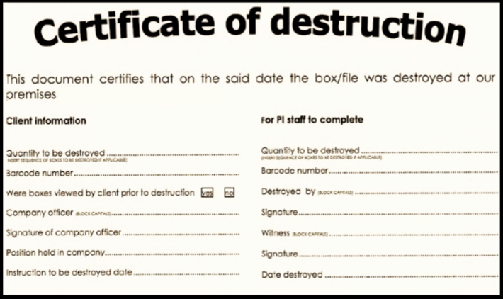 Certificate Of Data Destruction Template Best Of Certificate Of Destruction for Document Shredding