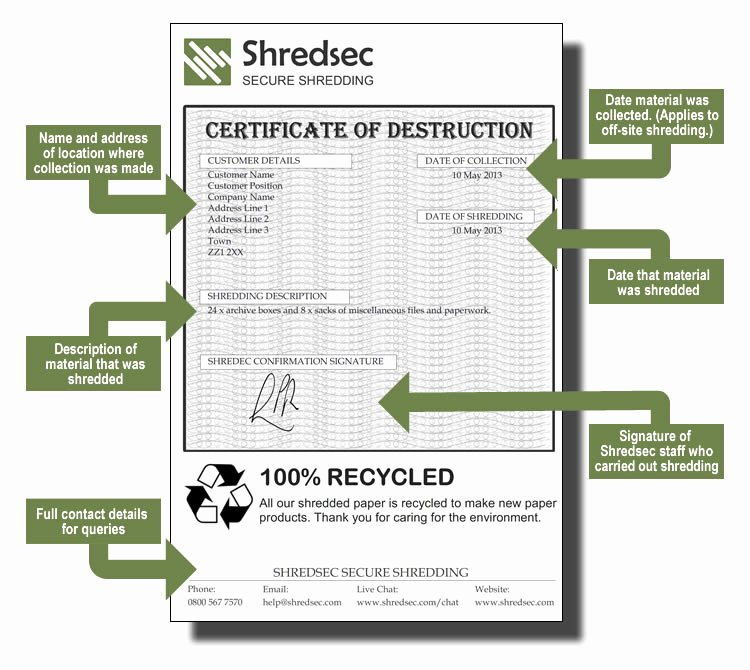 Certificate Of Data Destruction Template Best Of Shredsec Certificate Of Destruction