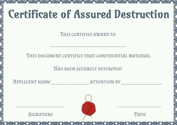 Certificate Of Data Destruction Template Elegant 8 Free Customizable Certificate Of Destruction Templates