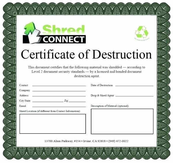 Certificate Of Data Destruction Template Elegant Certificate Of Destruction Template Word