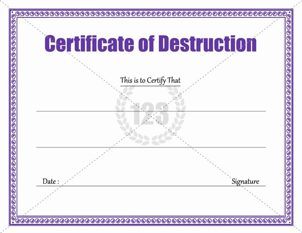 Certificate Of Data Destruction Template Elegant Download Certificate Of Destruction Template