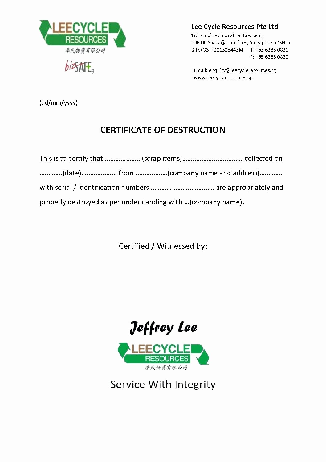 Certificate Of Data Destruction Template Elegant Template Destruction Certificate Template
