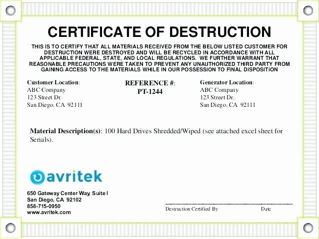 Certificate Of Data Destruction Template Inspirational Certificate Of Data Destruction Template – Obconline