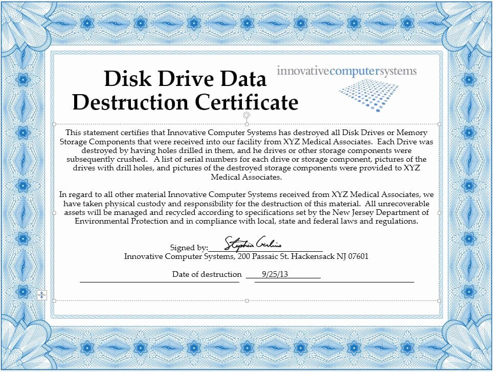 Certificate Of Data Destruction Template Luxury Innovative Puter Systems