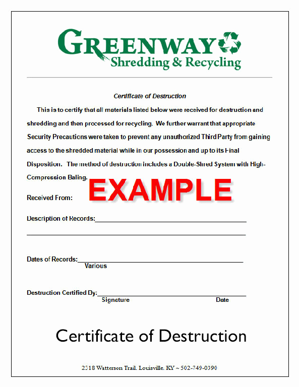 Certificate Of Data Destruction Template Luxury the Document Destruction Process ⋆ Greenway Shredding