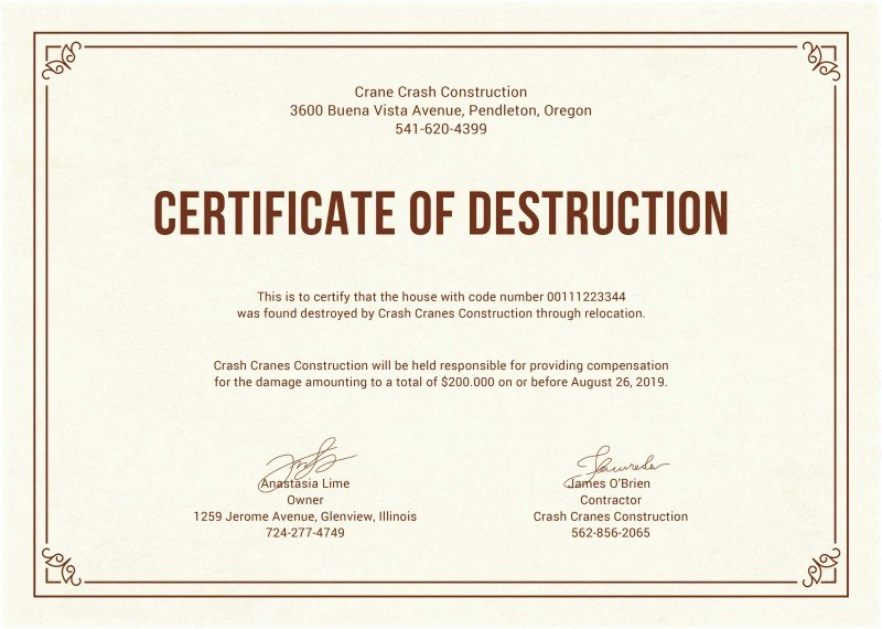 Certificate Of Data Destruction Template New Certificate Data Destruction Template Inspirational