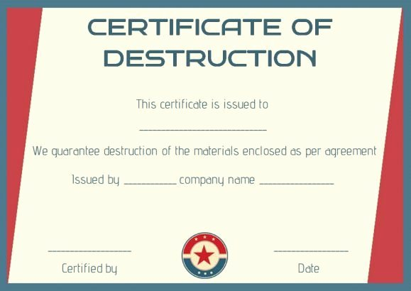 Certificate Of Data Destruction Template Unique 8 Best Certificate Of Destruction Images On Pinterest