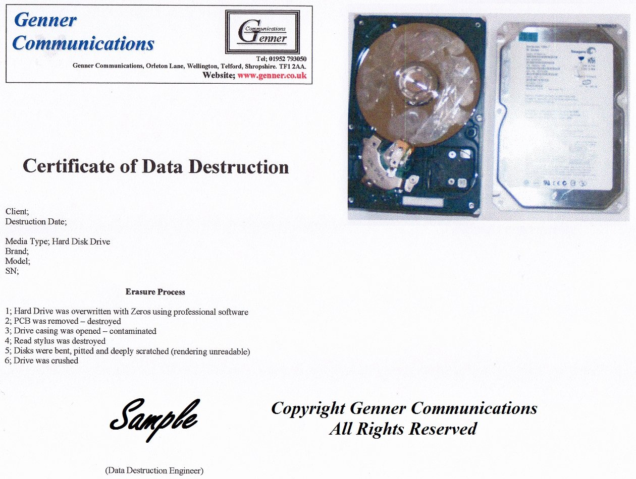 Certificate Of Data Destruction Template Unique Private Data Destruction Confidential Data Destruction
